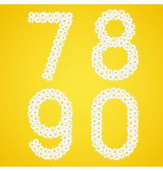 Figures 7890 composed from daisy flowers complete vector