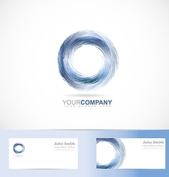 Grunge 3d circle blue logo vector