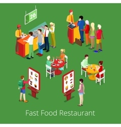 Isometric fast food restaurant interior vector