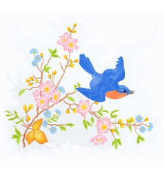 Little bird in flight in a flower bush vector