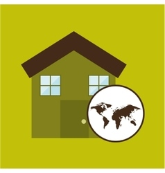Map earth environment ecological green house vector