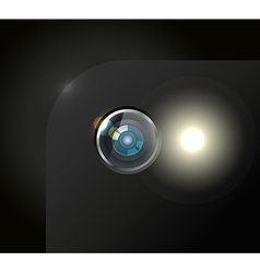 Modern smartphone camera with the flash light vector