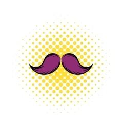 Mustache icon in comics style vector image