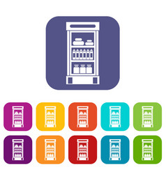 Products in the supermarket refrigerator icons set vector