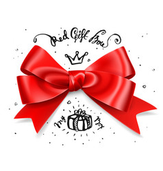 red gift bow satin isolated red glamour bow for vector image vector image