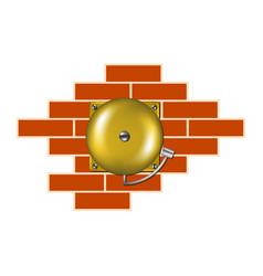 retro alarm on the brick wall vector image vector image