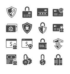 secure payment icon set vector image vector image