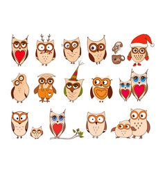 set of cute owls cartoon owls and owlets vector image