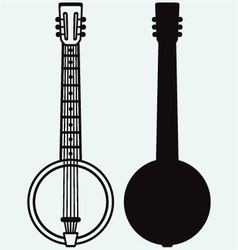 Silhouette of banjo vector