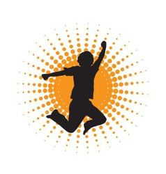 silhouette of jumping men vector image vector image
