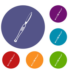 Stainless medical scalpel icons set vector
