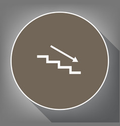 Stair down with arrow white icon on brown vector