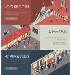 Subway railway isometric horizontal banners set vector