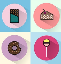 Sweet treats round icon set vector image