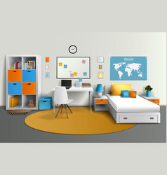 Teenager room interior design realistic image vector