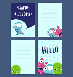 vertical note cards set with pozitive vector image