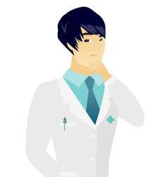Young asian doctor thinking vector