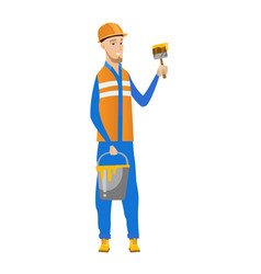 young house painter with brush and bucket of paint vector image vector image