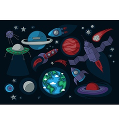 Cartoon space elements for birthday theme vector
