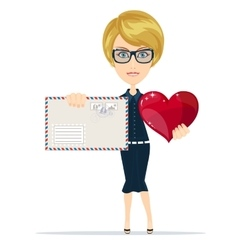 Woman Holding Big Red Heart in her Hands and vector image