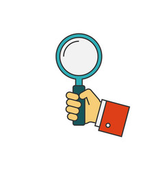 holding magnifying glass flat line vector image