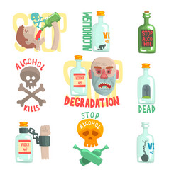 Dangers and risk from alcohol set alcoholism vector