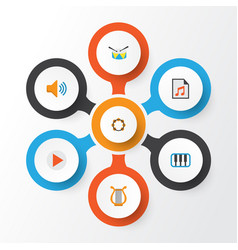 Audio flat icons set collection of audio button vector