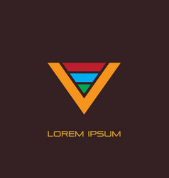 Letter v triangle business logo vector