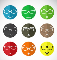 Faces with eyeglasses vector