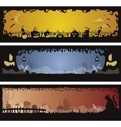 Set of 3 Halloween banners vector image