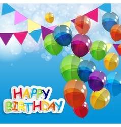 Color glossy balloons happy birthday background vector