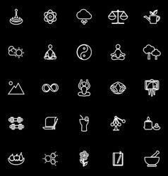 Zen concept line icons on black background vector