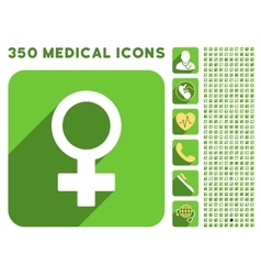 Female symbol icon and medical longshadow icon set vector