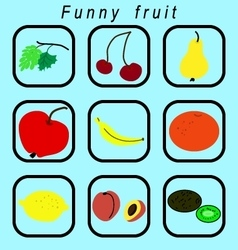 Funny fruit icons set vector