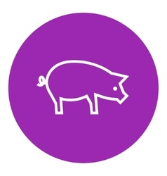 Pig line icon vector