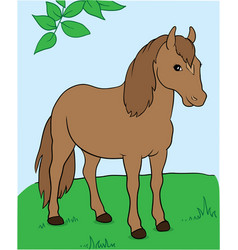 A horse under the tree eps 10 vector