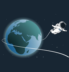 astronaut flying around the earth vector image vector image