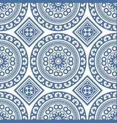 Azulejo seamless portuguese tile blue pattern vector