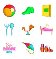 Babycare icons set cartoon style vector