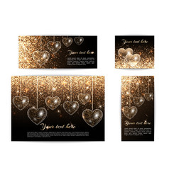 banners with hearts of different sizes vector image vector image