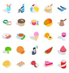 Bite icons set isometric style vector