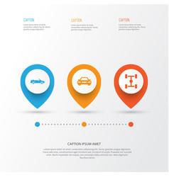 Car icons set collection of auto wheelbase vector