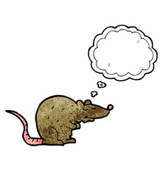 Cartoon rat with thought bubble vector
