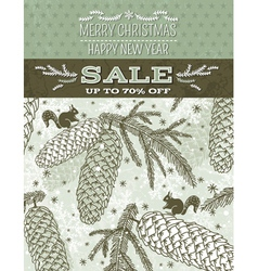 Christmas background with cone squirrel snowflakes vector
