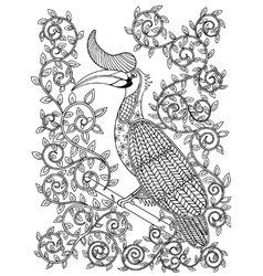 Coloring page with bird rhinoceros in leaves vector
