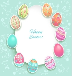 Easter holiday card with eggs vector