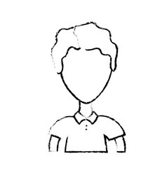 Figure cute man with hairstyle and t-shirt vector