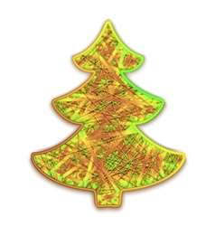 fir-tree embroidered on cardboard vector image