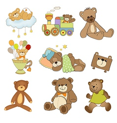 funny teddy bears set isolated on white background vector image vector image