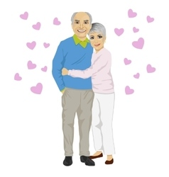 Happy smiling senior couple embracing together vector